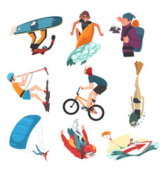 extreme sports set snowboarding surfing hiking vector image