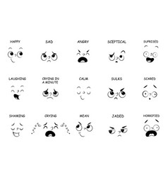 Face expressions with names for comic book vector