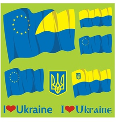 Flags and coats of arms of Ukraine and EU vector