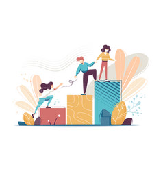 Flat young woman and man helping and growing vector