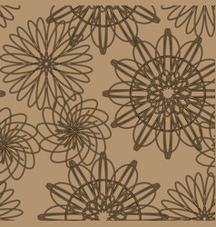 floral pattern on brown background vector image