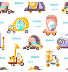 Funny artoon animals driving different vehicles vector