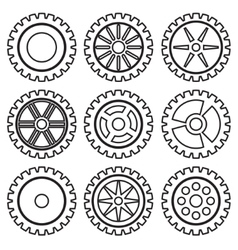 Gears set black vector image