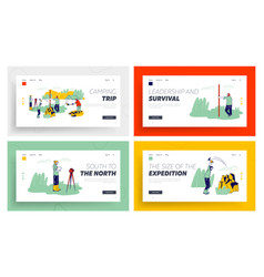 Geological expedition website landing page set vector