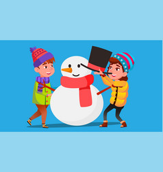 girl and boy in winter clothes mold a big snowman vector image