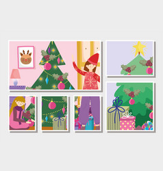 Girls decorating trees gifts tree merry christmas vector