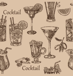 Hand drawn cocktail seamless background sketch vector