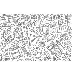 hand drawn hiking and camping set doodle vector image