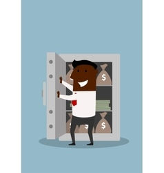Happy businessman opens safe with money vector image