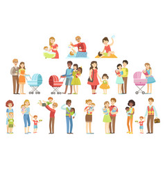 Happy families with small children vector