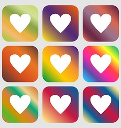 Heart sign icon Love symbol Nine buttons with vector image