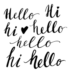 Hello hand-lettering words set vector