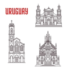 Historic famous architectural buildings of Uruguay vector