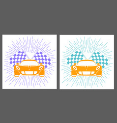 Icons racing of sports cars vector