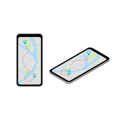 Isometric city map smartphone navigation isometry vector