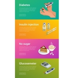 Isometric Diabetes health-care life flat concepts vector image