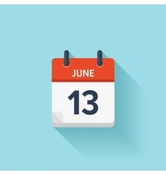 June 13 flat daily calendar icon Date vector image