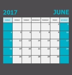 June 2017 calendar week starts on Sunday vector