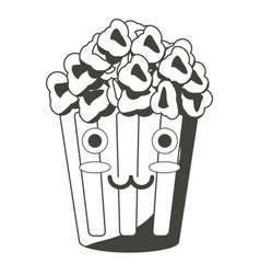 kawaii pop corn bucket icon vector image
