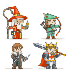Mage warlock archer sharpshooter warrior king vector