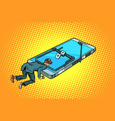 man trapped in a mousetrap smartphone vector image