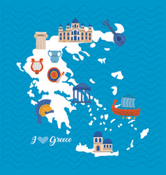 Map greece with icons vector