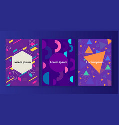 memphis style covers set with geometric shapes vector image