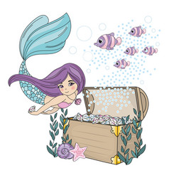mermaid diamond sea travel clipart color vector image