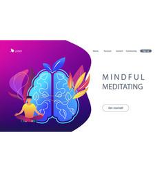 Mindful meditating concept landing page vector
