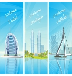 Modern Cityscapes 3 Banners Set vector image