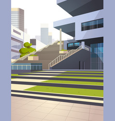 Modern office building stairs exterior view over vector