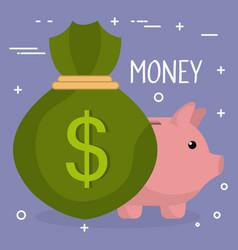 Money bag with piggy vector