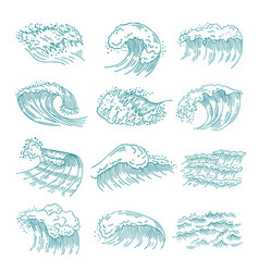 monochrome pictures set of marine waves with vector image