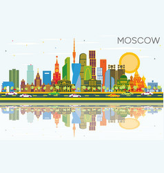 Moscow russia city skyline with color buildings vector