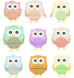 owls icon set isolated on white vector image