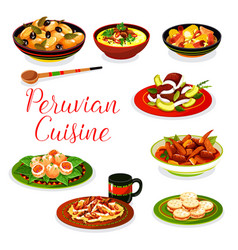 Peruvian seafood ceviche meat and veggies dishes vector