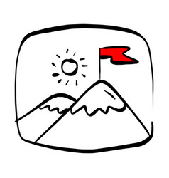 Red flag on a mountain peak in rectangular vector