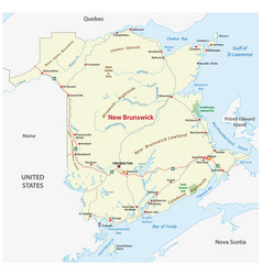 Road map of the canada atlantic province new vector