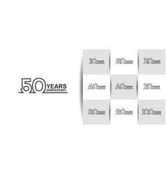 Set anniversary logo style with black line art vector