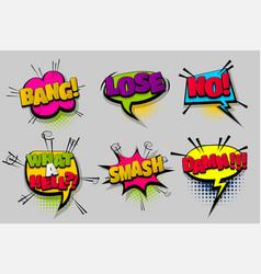 set comic text speech bubble pop art vector image