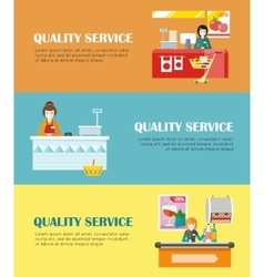 Set of Quality Service in Supermarket Banners vector image