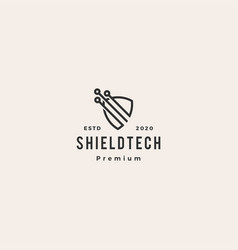 shield tech logo icon hipster vintage retro vector image
