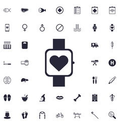 Smart watch with heart sign icon vector