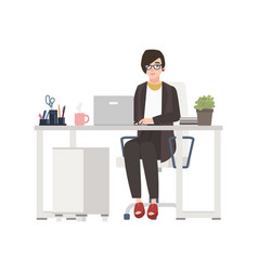 smiling woman working at office female clerk vector image