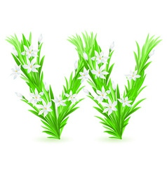 spring flowers alphabet w vector image