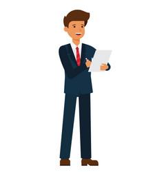 Standing businessman writing contract cartoon flat vector