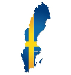 Sweden map flag vector