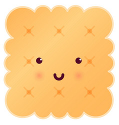 sweet cute square tasty cookie vector image