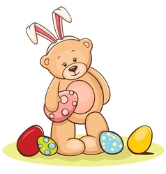 teddy with easter egg vector image