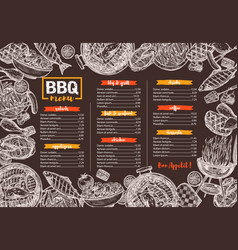 template bbq grill barbecue meat menu vector image